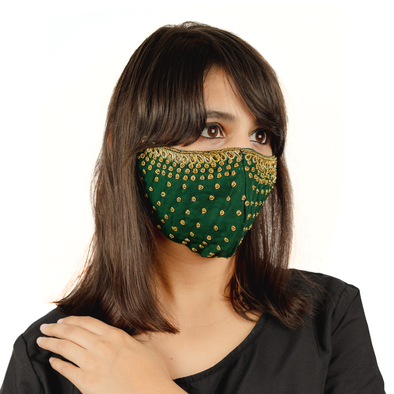Bottle Green Polka Dot Embroidered Cotton Face Mask - Maxim Creation
