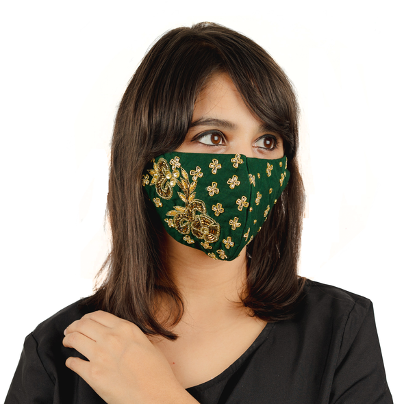 Emerald Green Cotton Face Mask with Floral Embroidery - Maxim Creation