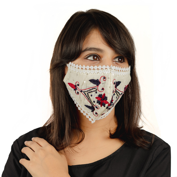 Cream Cotton Face Mask with Floral Embroidery - Maxim Creation