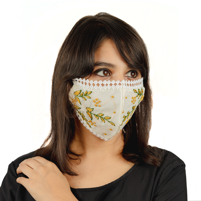 Cream Coloured Cotton Lace Face Mask with Floral Thread Embroidery - Maxim Creation