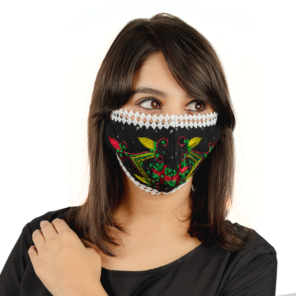 Geometric Floral Embroidery on Cotton Face Mask (Pack of 5 per style) - Maxim Creation