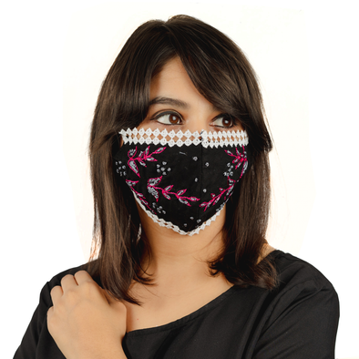 Black Coloured Cotton Lace Face Mask with Floral Thread Embroidery - Maxim Creation