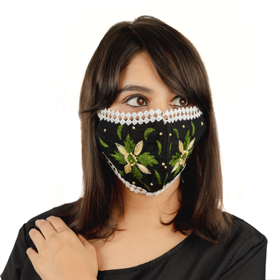 Geometric Floral Embroidery on Black Coloured Cotton Face Mask - Maxim Creation