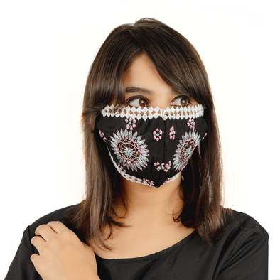 Black Coloured Cotton Face Mask with Lace and Sun Flowered Embroidery - Maxim Creation