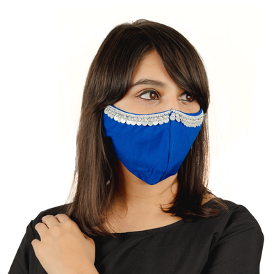 Hanging Tassel Embroidery on Royal Blue Cotton Face Mask - Maxim Creation