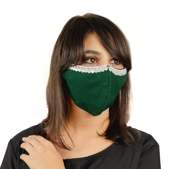Bottle Green Coloured Cotton Face Mask with Hanging Tassel Embroidery - Maxim Creation