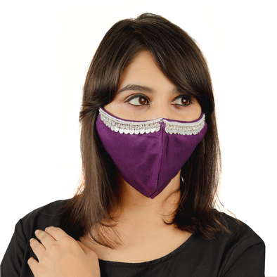 Purple Coloured Embroidered Cotton Face Mask - Maxim Creation