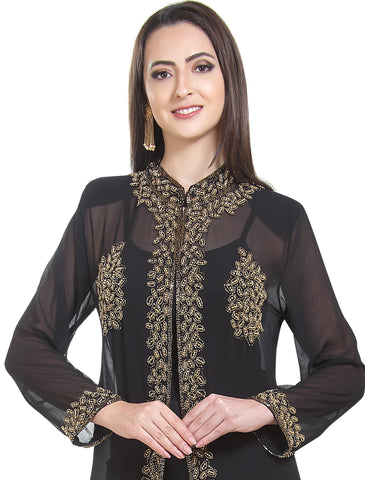 BLACK LONG MAXI FANCY PONCHO TRADITIONAL INDIAN PARTY WEAR KURTI TUNIC BEACH PONCHO