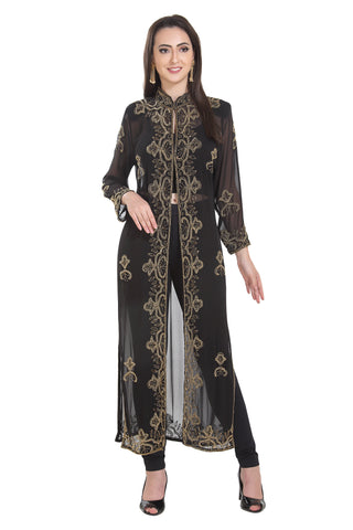 Golden Sequins Embellishmants Hand Embroidered Cardigan 7203