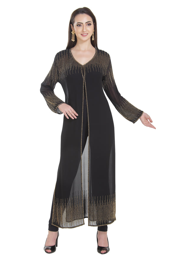 Embroidered Cardigan Long Sleeve Maxi - Maxim Creation