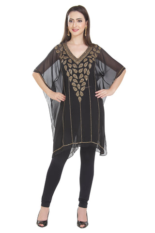 GOLDEN HAND EMBROIDERED BLACK TRADITIONAL INDIAN KURTI TEA PARTY WEAR KURTI TUNIC SHORT PONCHO
