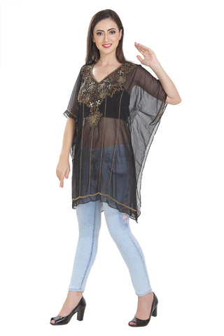 BLACK TRADITIONAL INDIAN KURTI TEA PARTY WEAR KURTI TUNIC SHORT PONCHO