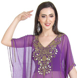 PURPLE PONCHO TRADITIONAL INDIAN PARTY WEAR KURTI TUNIC SHORT PONCHO