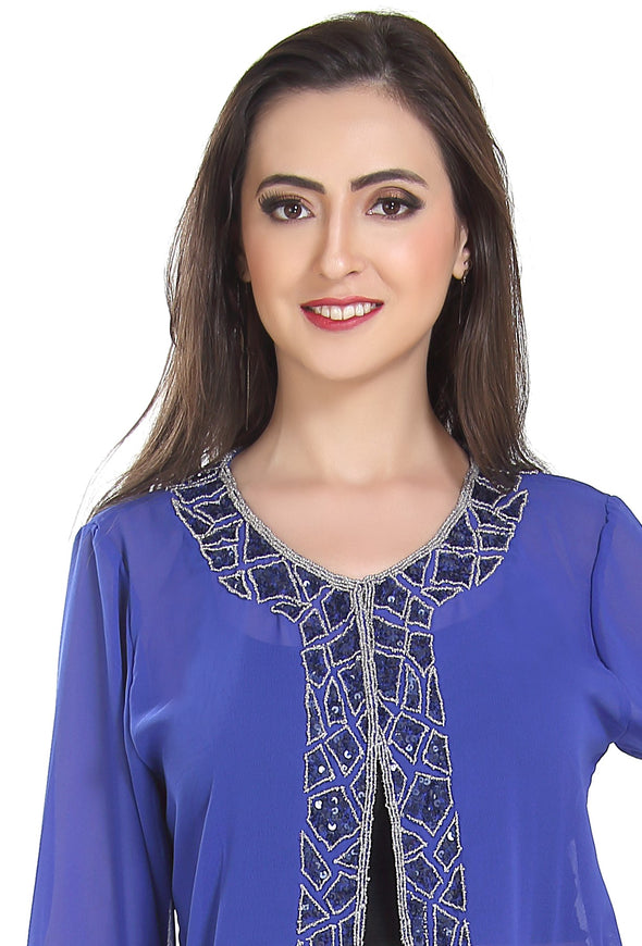 KURTI TUNIC SHORT PONCHO WITH MATCHING FABRIC COLOR STONE