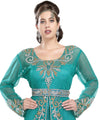TUL NET FABRIC RAMA GREEN WEDDING GOWN 5543