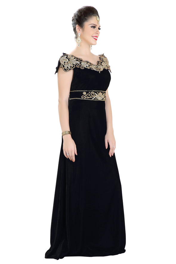 Winter Collection Crystal Ball Gown in Black Velvet - Maxim Creation
