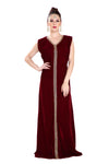 Winter Collection Embroidered Maxi in Maroon Velvet 7969