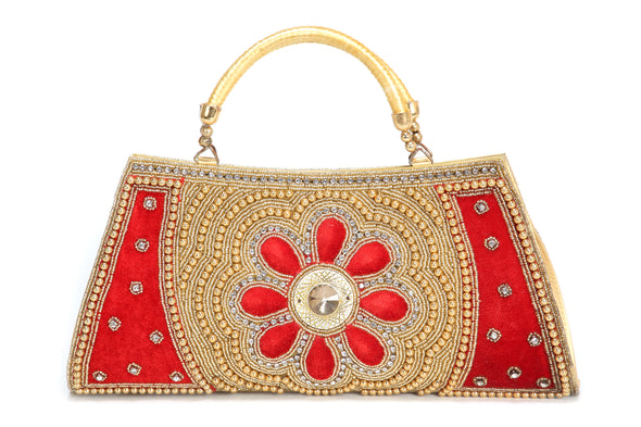 FLORAL EMBROIDERED & SEQUIN LADIES CLUTCH - Maxim Creation