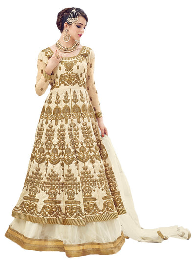 Cream Embroidered Ball Gown Full Work Sharara 207 - Maxim Creation