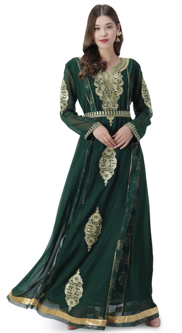 Palestinian Caftan With Paisely Embroidered Belt - Maxim Creation