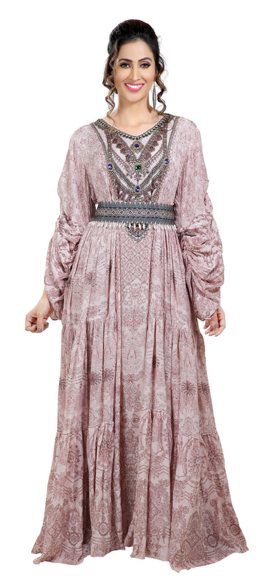 Printed Designer Abaya With Embroidered Belt - Maxim Creation