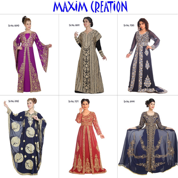 Farasha Gown with Maroon Velvet Motifs and Beads - Maxim Creation
