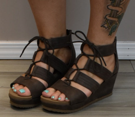 Laced Up Lady Wedge Sandals
