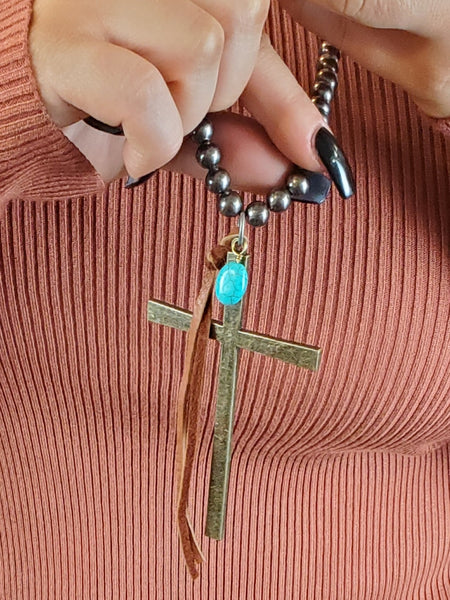 Leather + Turquoise Cross Necklace