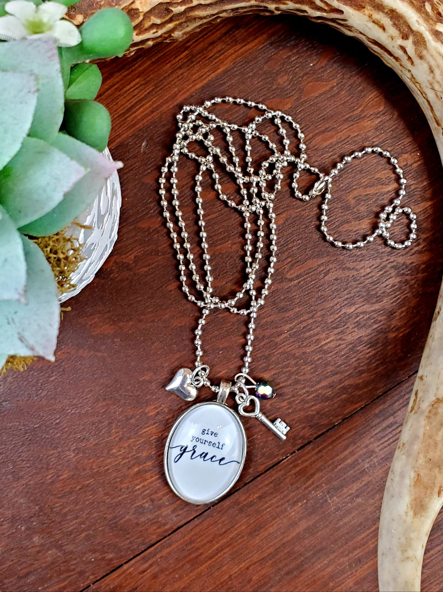 Give Yourself Grace Pendant Necklace