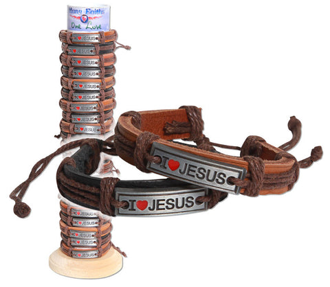 I love Jesus Red Heart Leather Bracelet