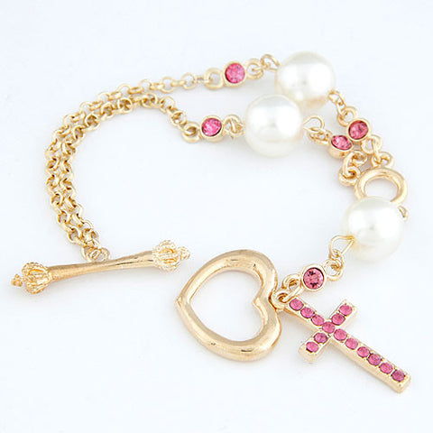 Pink Crystal Heart Cross Bracelet