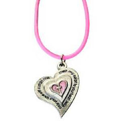 Heart Purity Necklace on Pink Cord