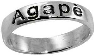 Small Sterling Agape Christian Ring