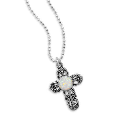 Opal-like Filigree Cross Earrings or Necklace
