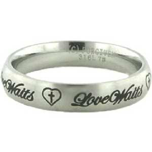 Love Waits Stainless Heart Enclosed Cross Ring