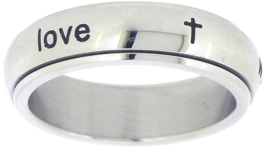 True Love Waits SPINNER Stainless Steel Ring - With Cross