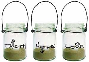 Faith Hope and Love Mason Jar Lantern Set of 3