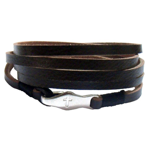 Cross Bracelet with Long leather wrap with cross clasp