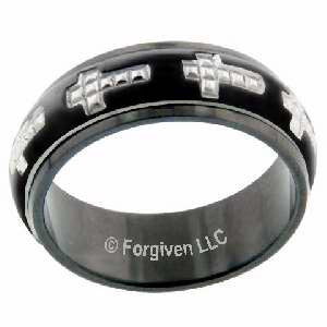 Studded Cross Men's Ring