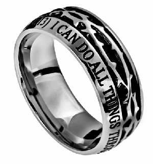 I can do all things Crown of Thorns  MENS Ring
