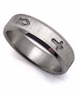 Simple Cross and Fish (Icythus) Stainless Ring
