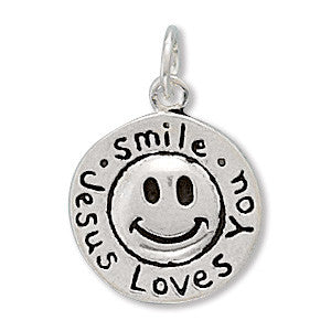 Smile Jesus Loves You Sterling Silver Charm