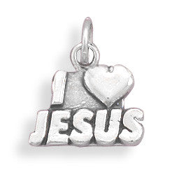 I love Jesus Sterling Silver Charm