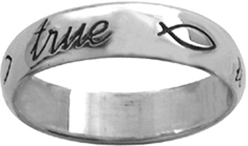True Love Waits Sterling Silver Ring - W/Ichthus (fish)