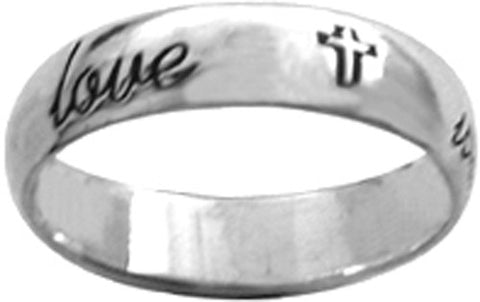 True Love Waits Sterling Silver Ring - W/Cursive Writing and Cross
