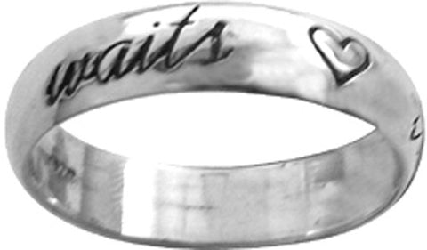 True Love Waits Sterling Silver Ring - W/Cursive Writing and ♥