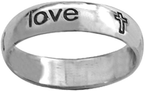 True Love Waits Sterling Silver Ring - W/Print Writing and Cross