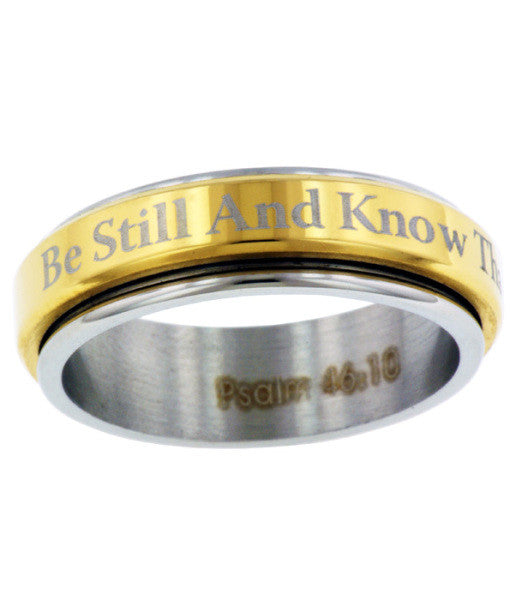 Be Still Stainless Steel Spinner Christian Ring