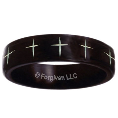 Laser Cross Band Stainless Ring