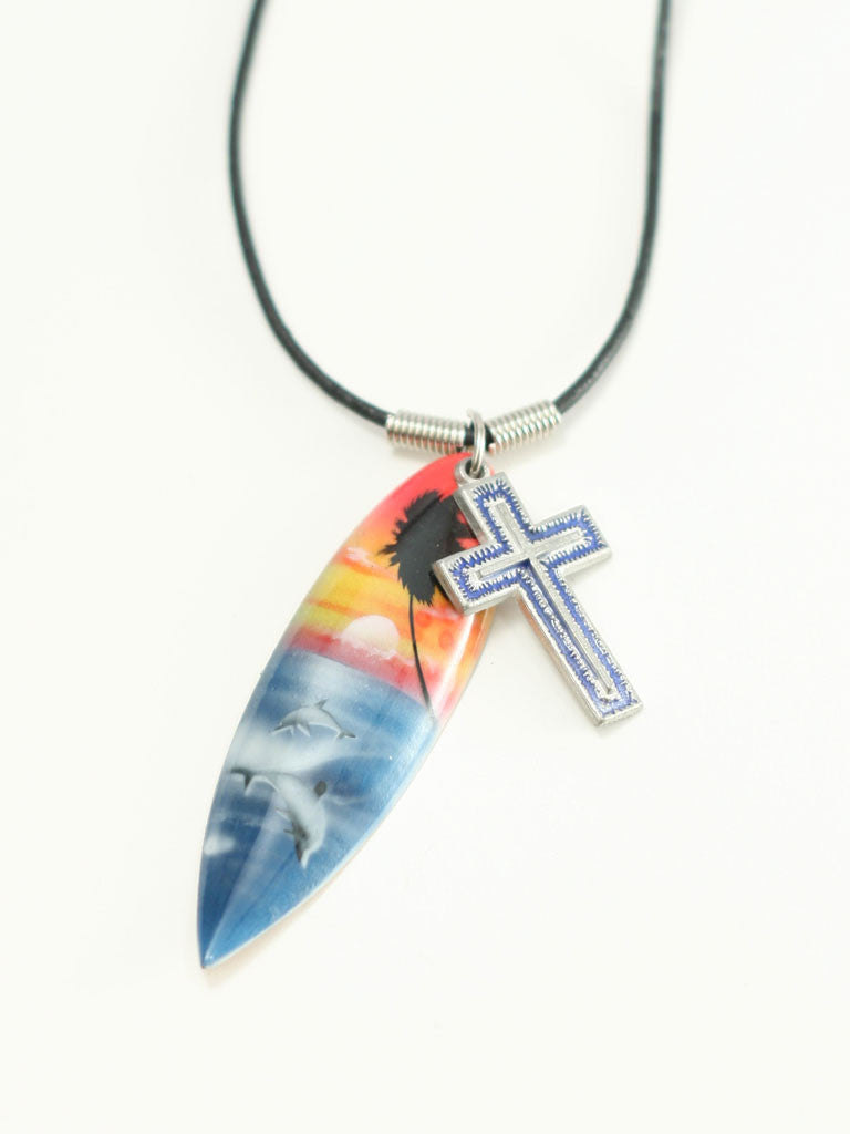Eph 6 Cross with Surfboard Christian Necklace